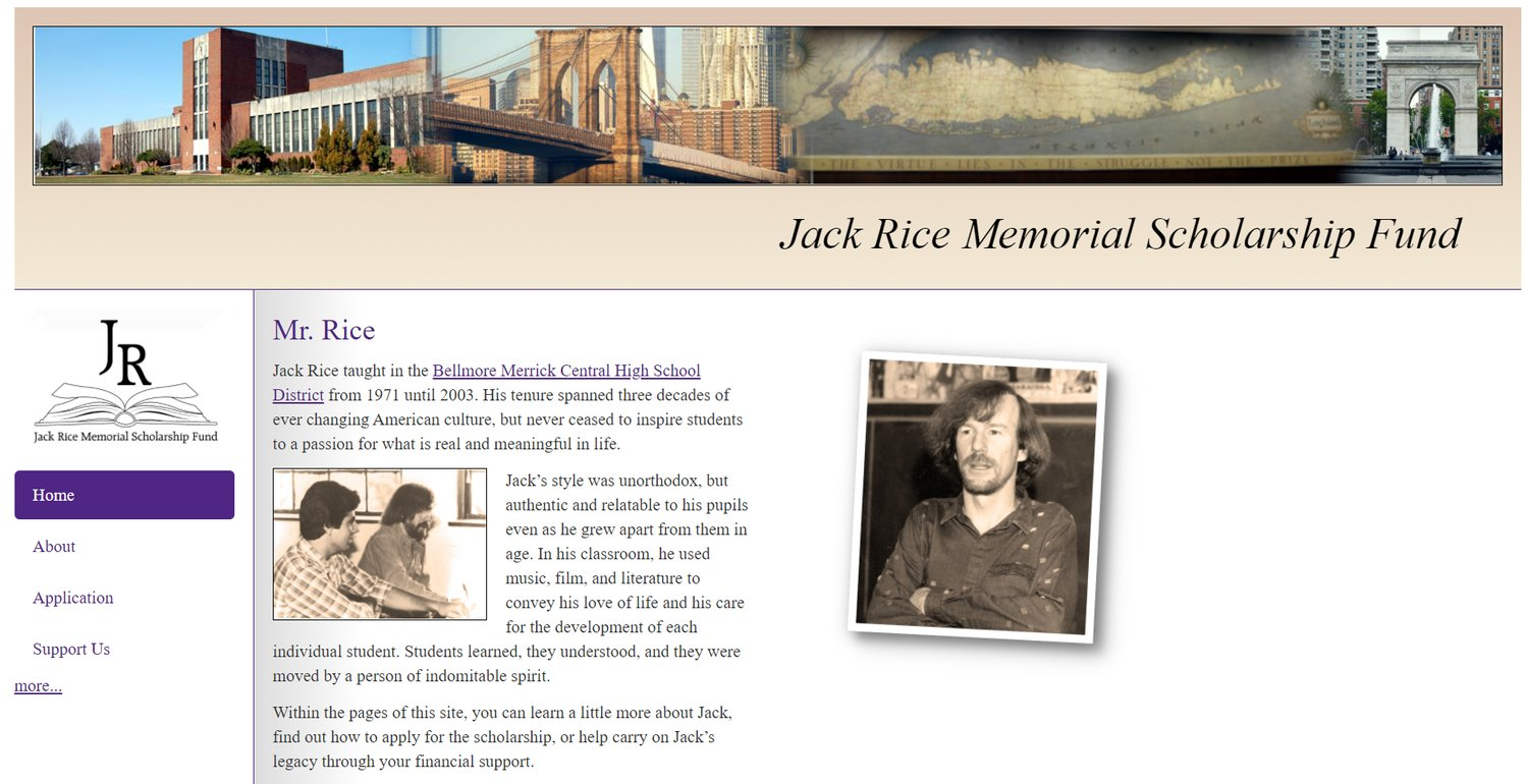The website for the Jack Rice Memorial Scholarship Fund is open for  applications.