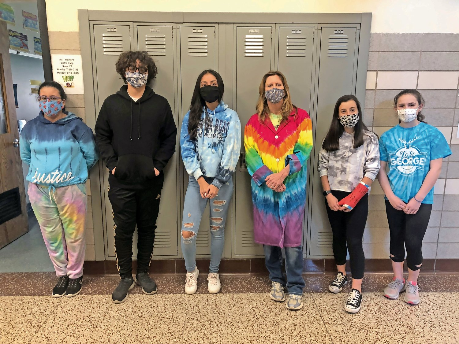 Students and staff at West Hempstead Middle School wore colorful clothes for Tie Dye Tuesday as part of the school's Mental Health Spirit Week on March 23.