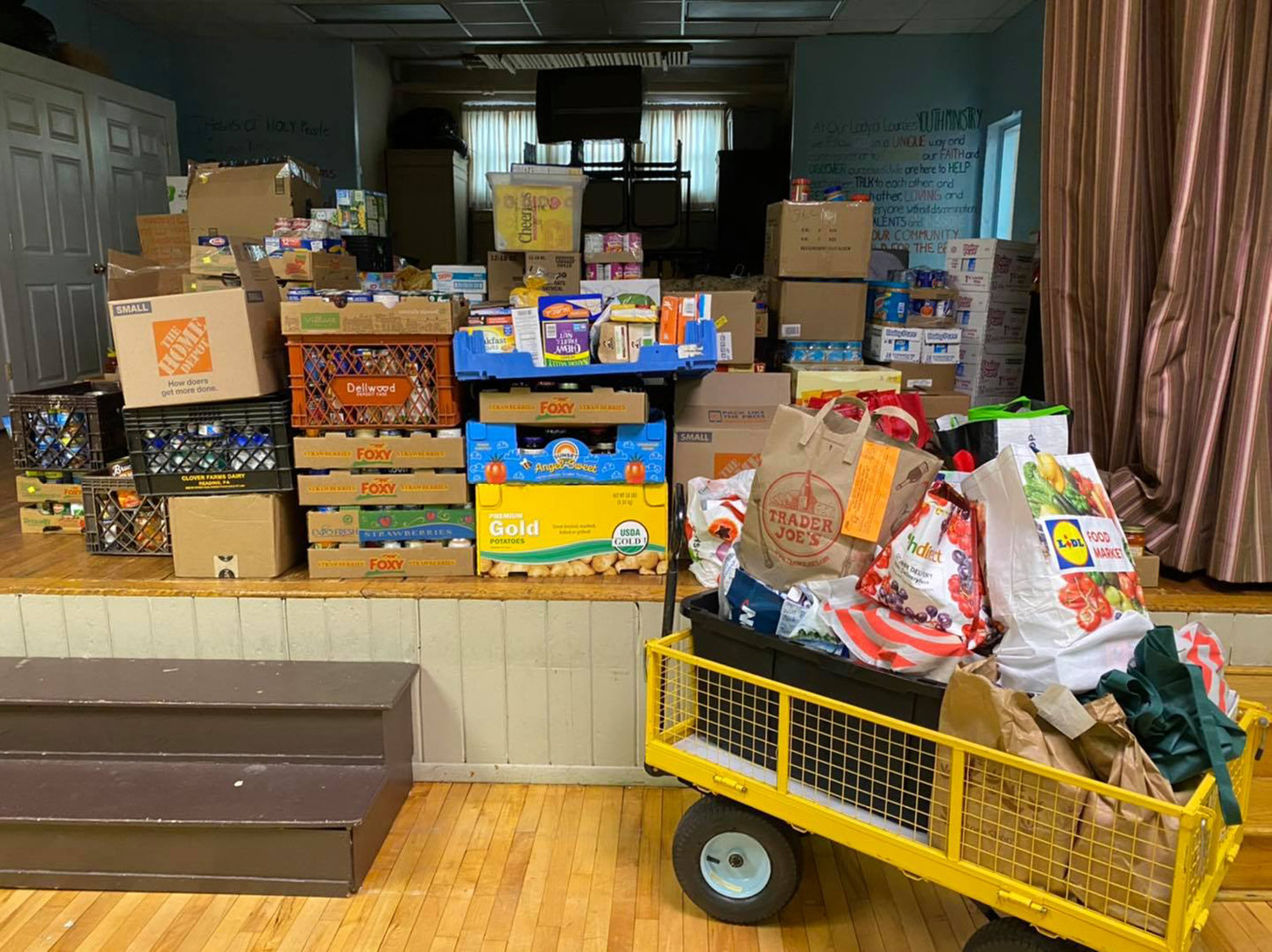 Donations ranged from tuna to peanut butter, canned fruits and cereal.