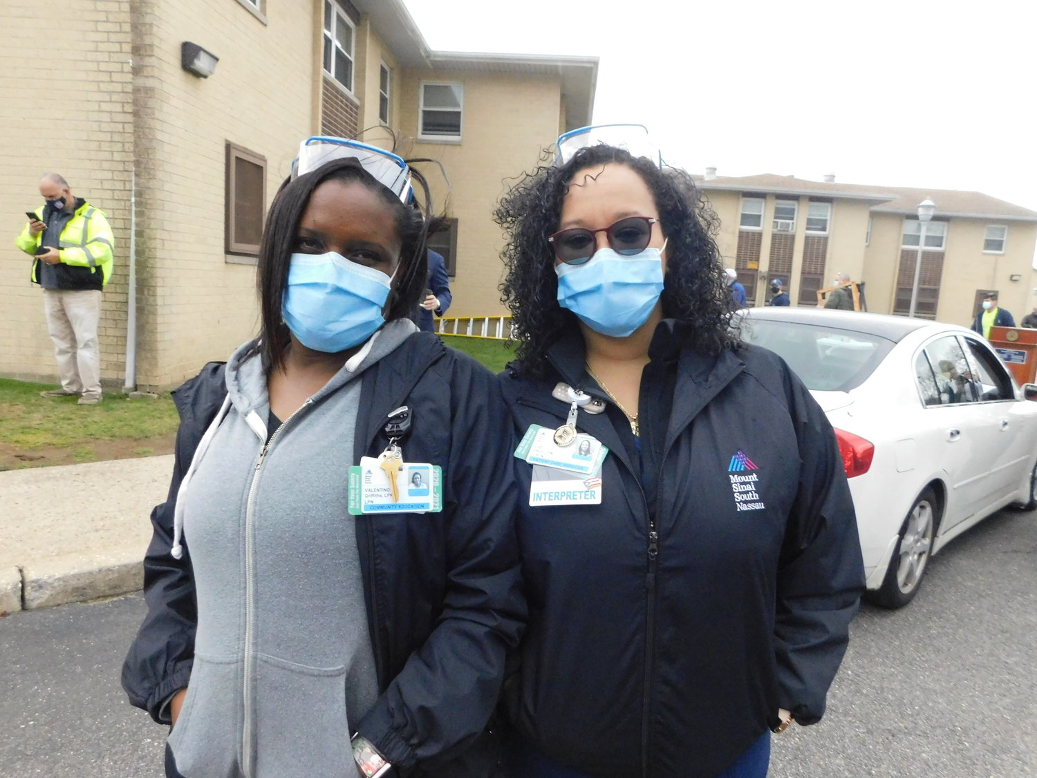 Mount Sinai South Nassau nurses Valentina Griffiths and Luz Otero, two of the five official vaccinators assigned to the mobile unit.