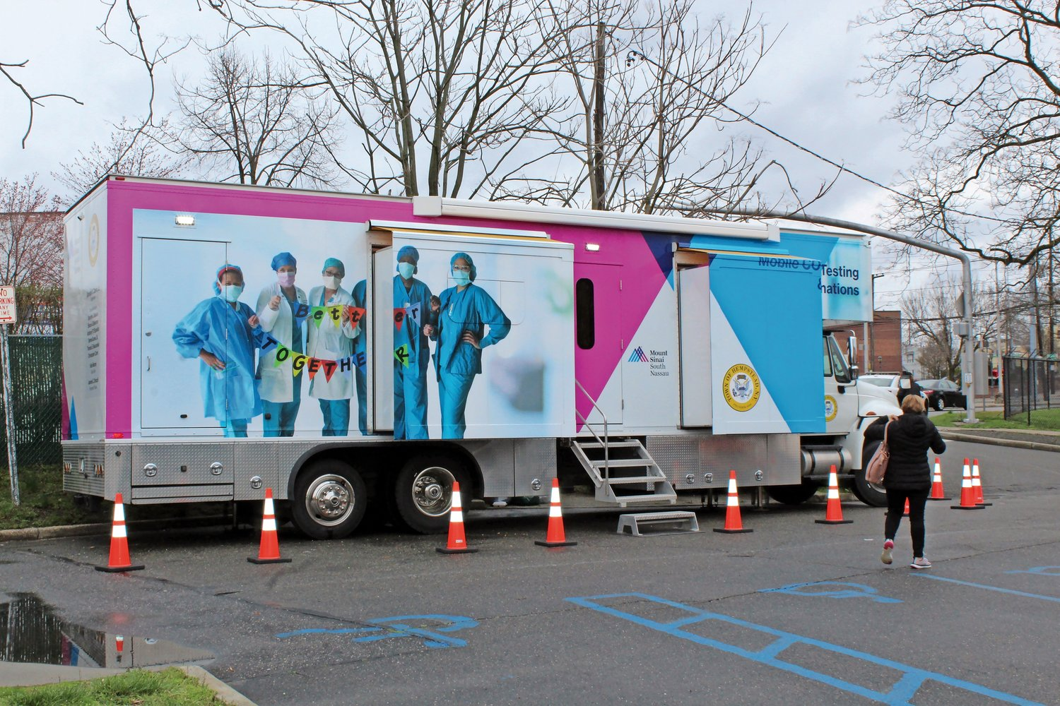 "The Town of Hempstead's ""Vaxmobile"" was parked outside of the Elmont Senior Center on April 1."