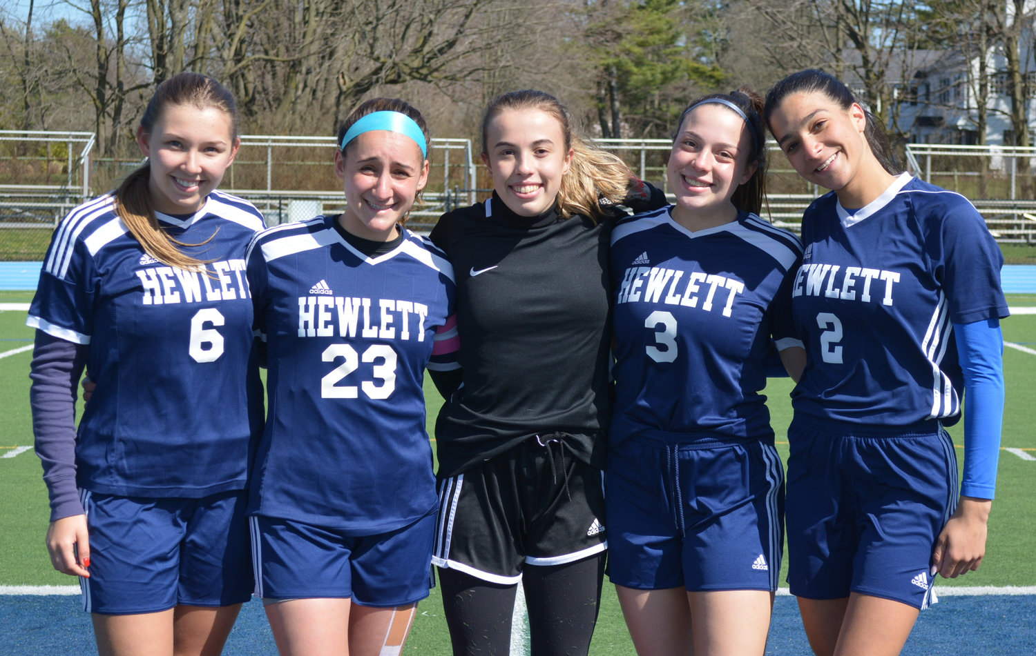 Captains, from left to right, Fallon Zemlyansky, Alessandra Borsellino, Sarah Morales, Tori Auerbach and Ariella Ziarno are all four-year varsity players.