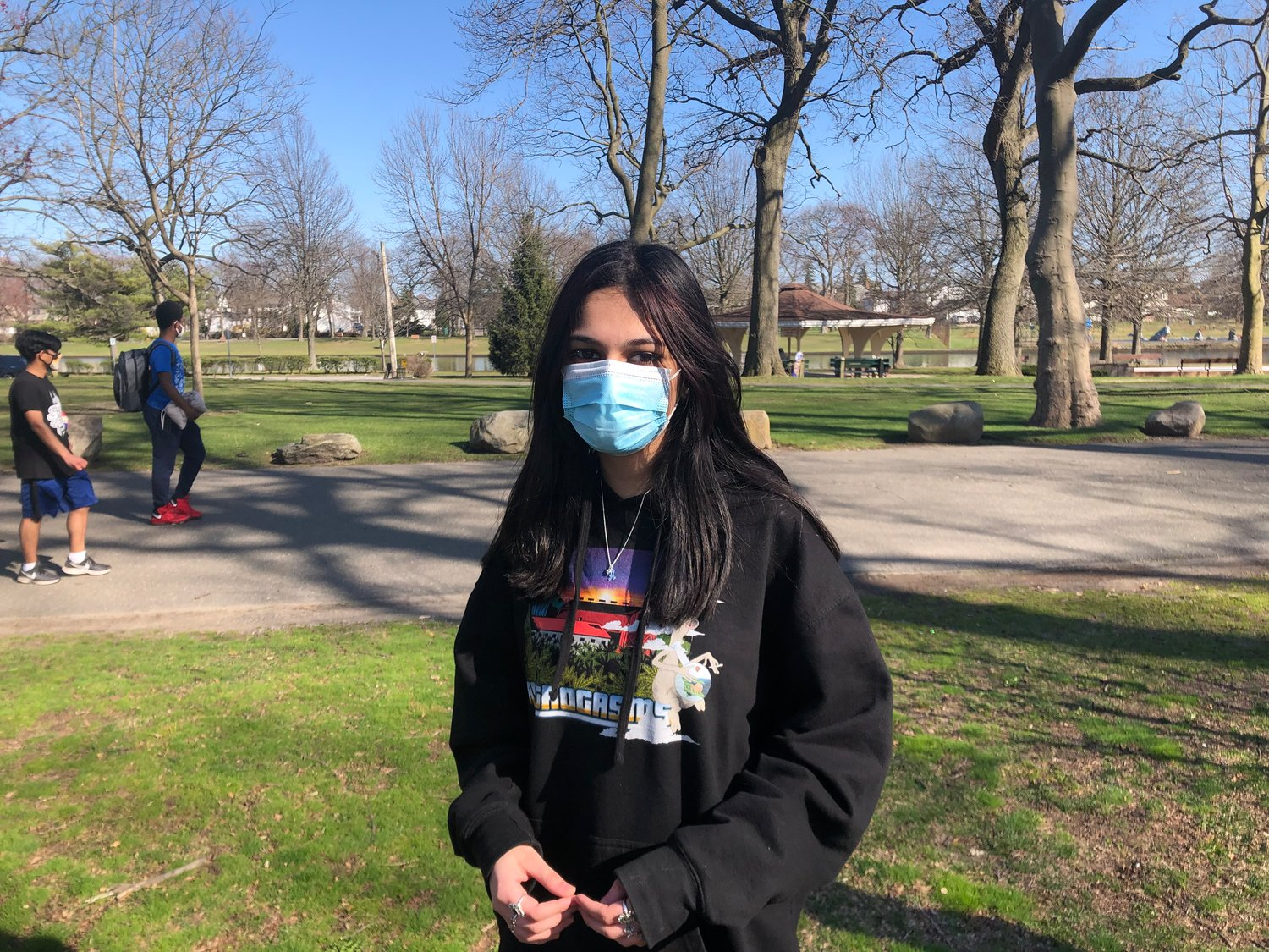 Ama Bhatti, 14, above, said she was excited about spring because she can go outside more often to practice tricks on her skateboard.
