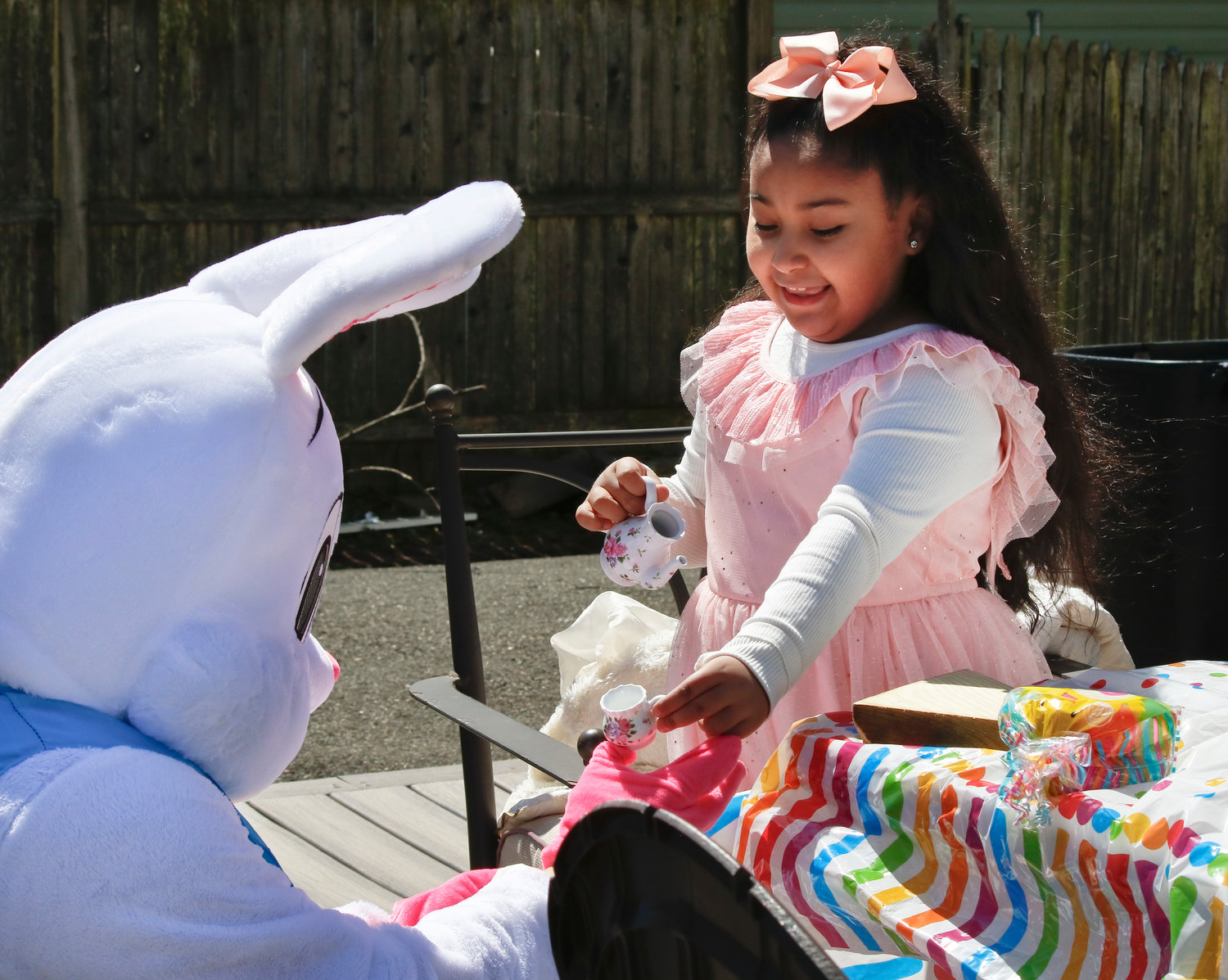 The Easter bunny visited Raylee Dean, 7, of Levittown, to have a tea party on April 3.