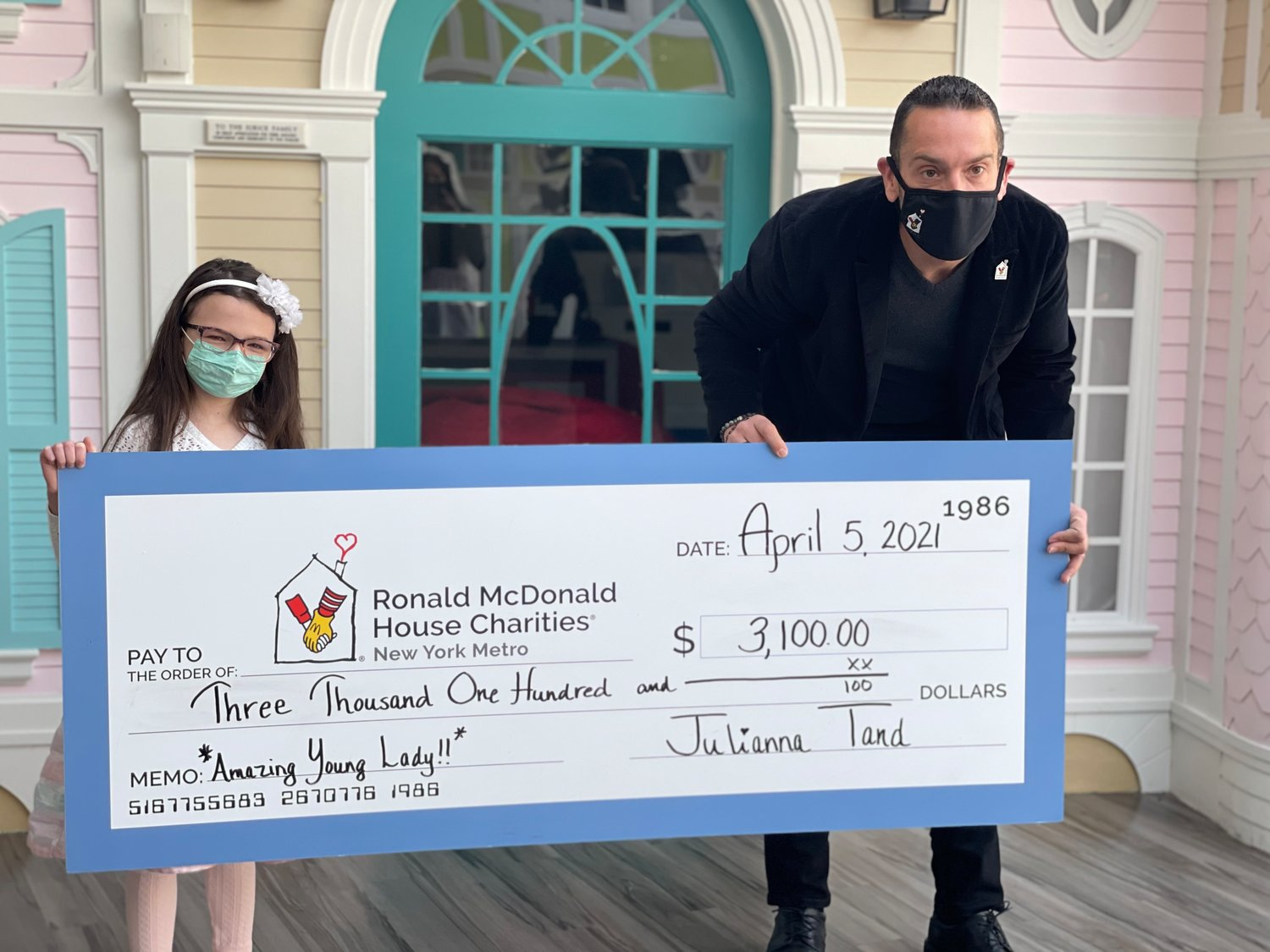 Julianna presented the donation to Ronald McDonald House Charities New York Metro CEO Matthew Campo.