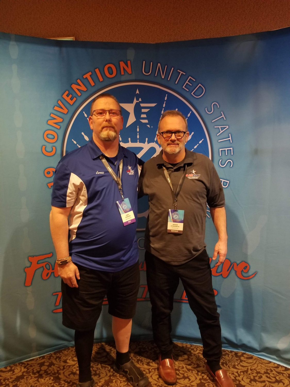 West Hempstead bowling coach Arthur O'Connor, right, was named as the 2021 David Dahms Coach of the Year. Above, he is pictured with Corey Spurlock, president of the Spokane County USBC Association in Washington.
