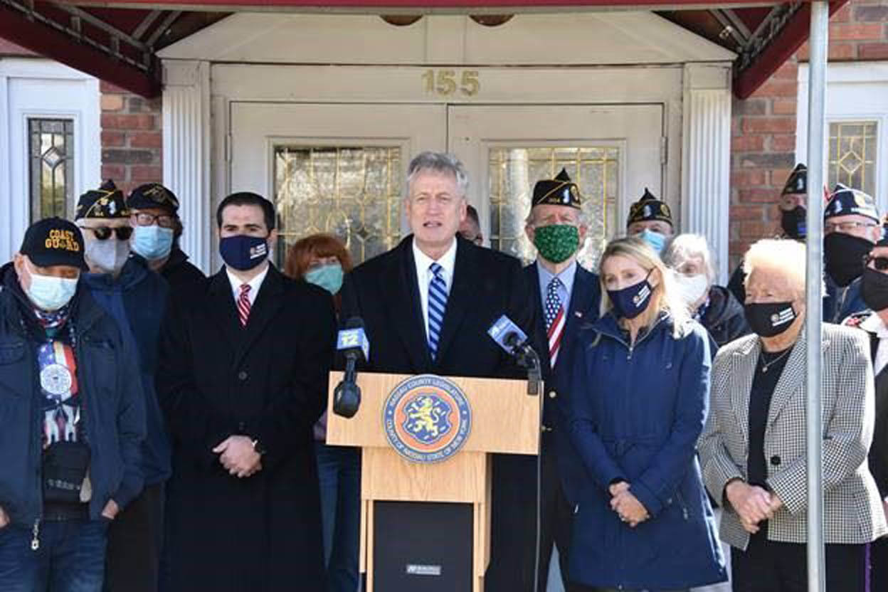 Richard Nicolello, presiding officer of the Nassau County Legislature, proposed legislation to provide veterans' groups with Covid relief funds.