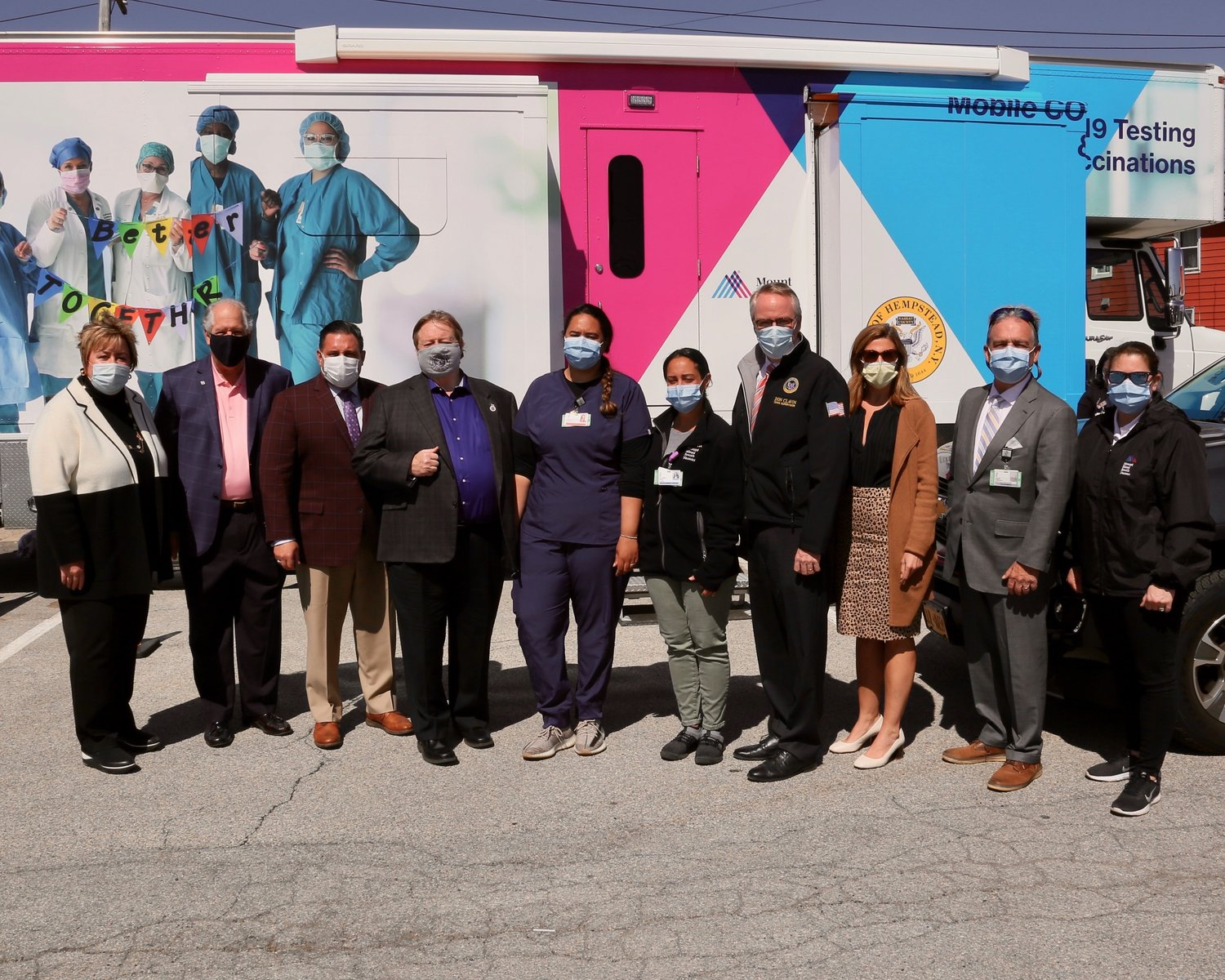 "The Town of Hempstead's ""Vaxmobile"" rolled through Island Park on April 6 and 7, as elected officials, staff from Mount Sinai South Nassau hospital and residents gathered so that many people who have struggled to make appointments could get inoculated with the single-dose Johnson & Johnson vaccine."
