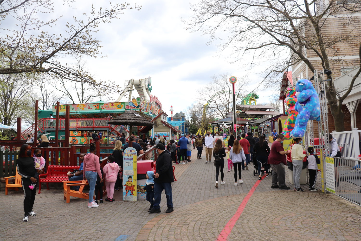 Adventureland, in East Farmingdale, was bustling with families last Friday, a week after it reopened.
