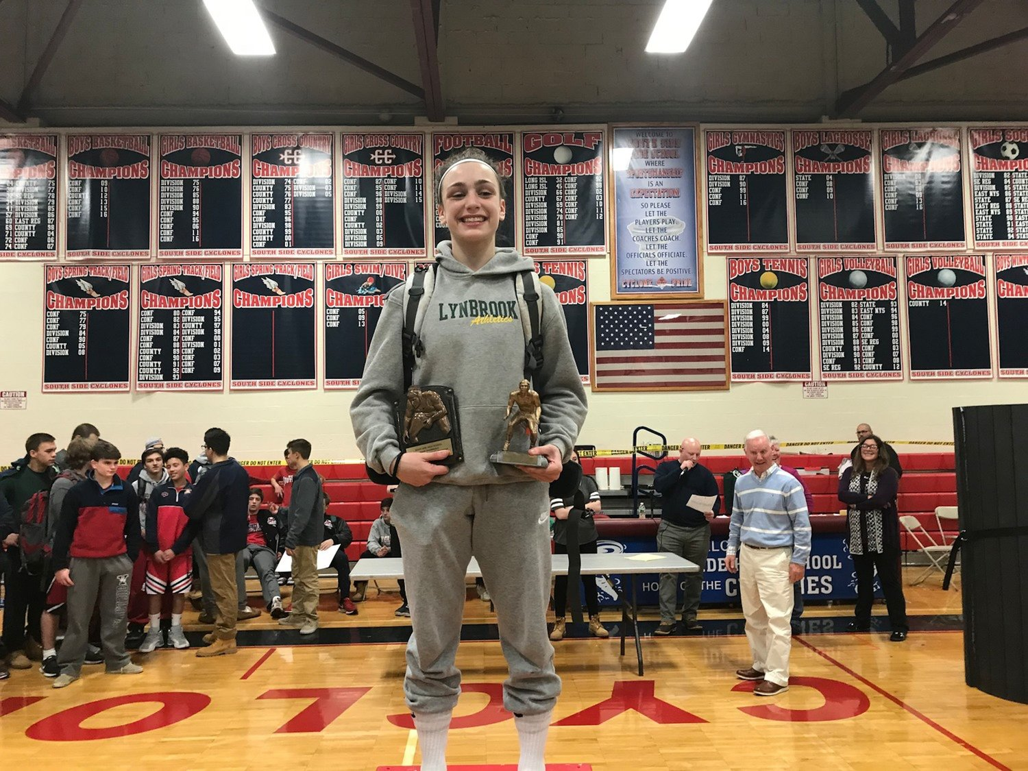 Former Lynbrook High School wrestler Ally Fitzgerald committed to join the new women's team at Sacred Heat University in Connecticut. She made history as a freshman at LHS in 2018, when she became the first female to win in her weight class at a boys' wrestling tournament in Nassau County.