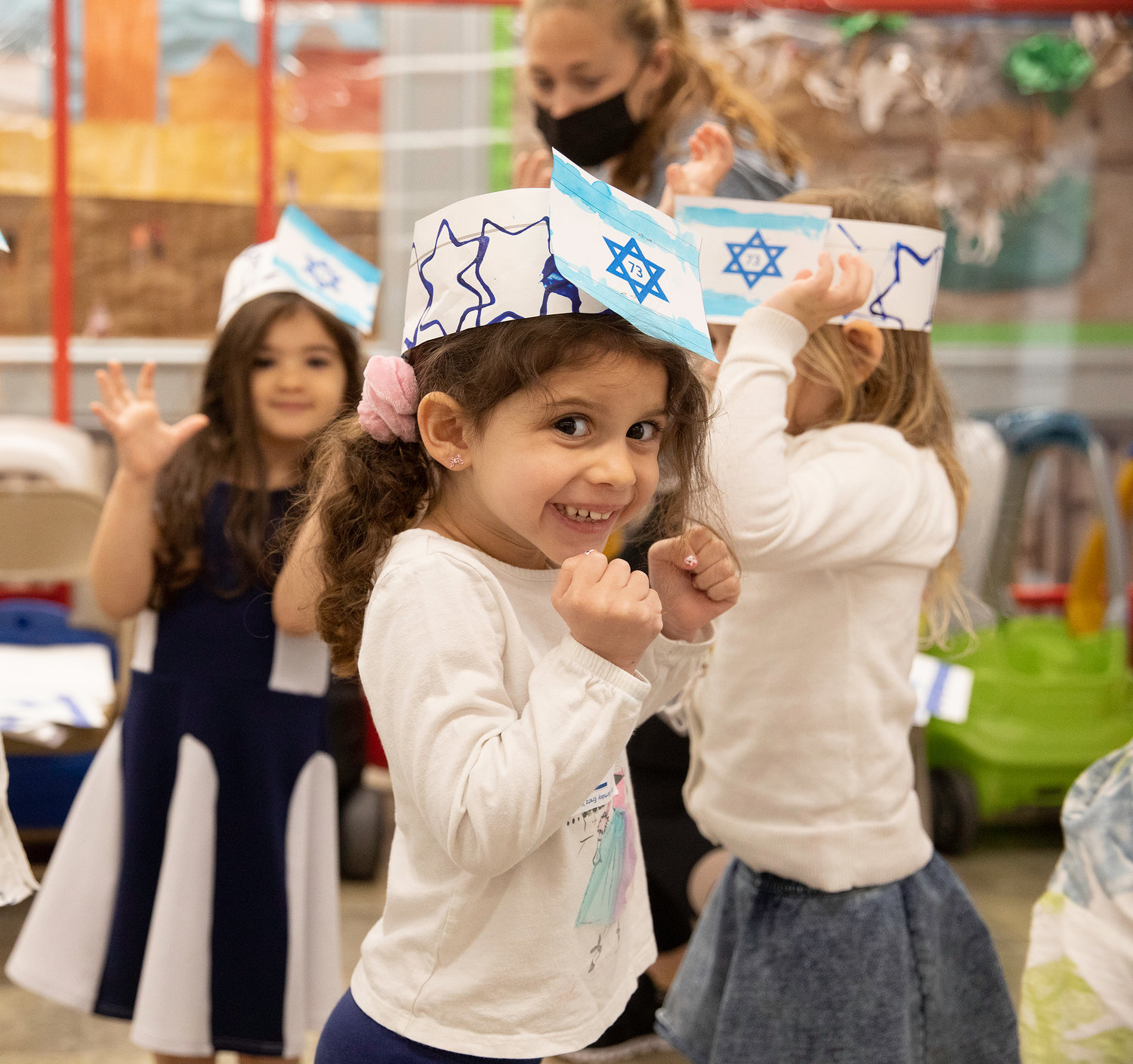 HAFTR Early Childhood student Mikaela Fligelman, of Woodmere, happily danced as part of the school's Israel Independence Day celebration.