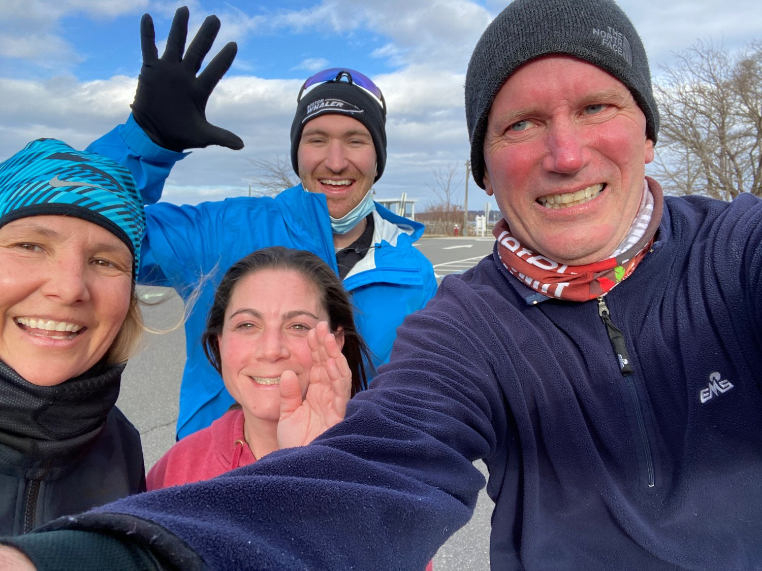 Danielle Taylor, left, Cheryl Lordi, Liam Gagliano and John Quirk took part in the 4x4x48 challenge in Oyster Bay on March 5.