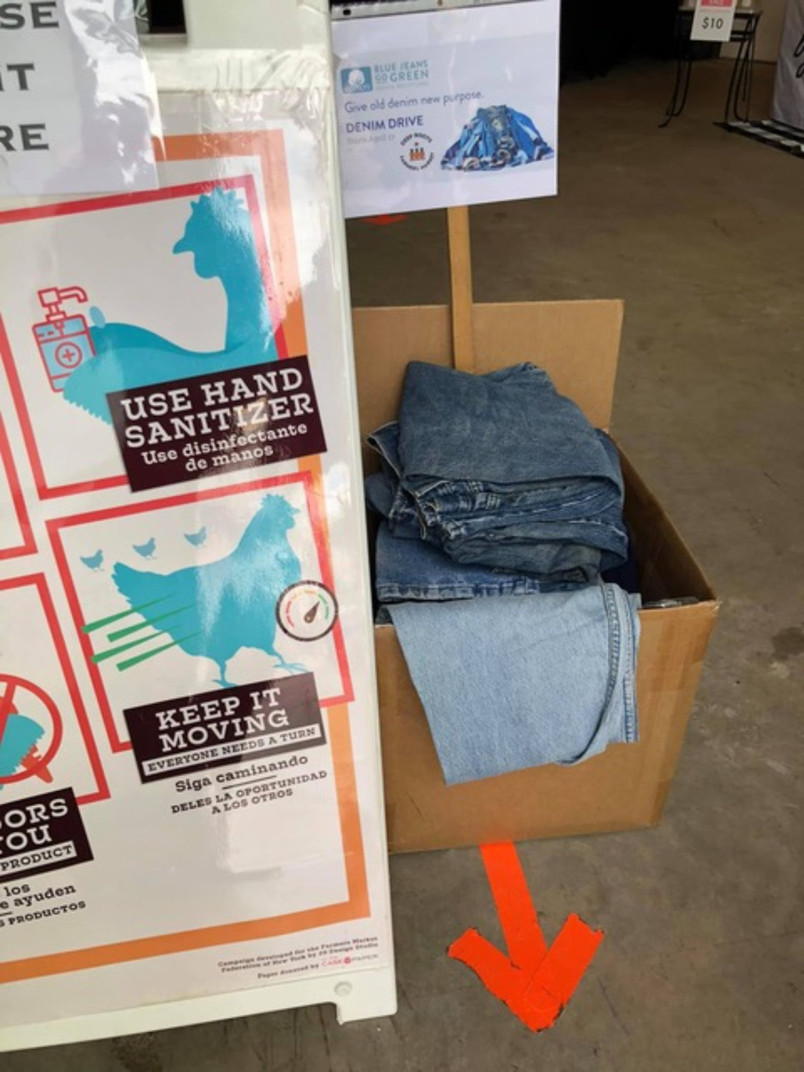 A box of jeans collected at the Sea Cliff Farmers Market on April 17 that will be donated to two noble causes.