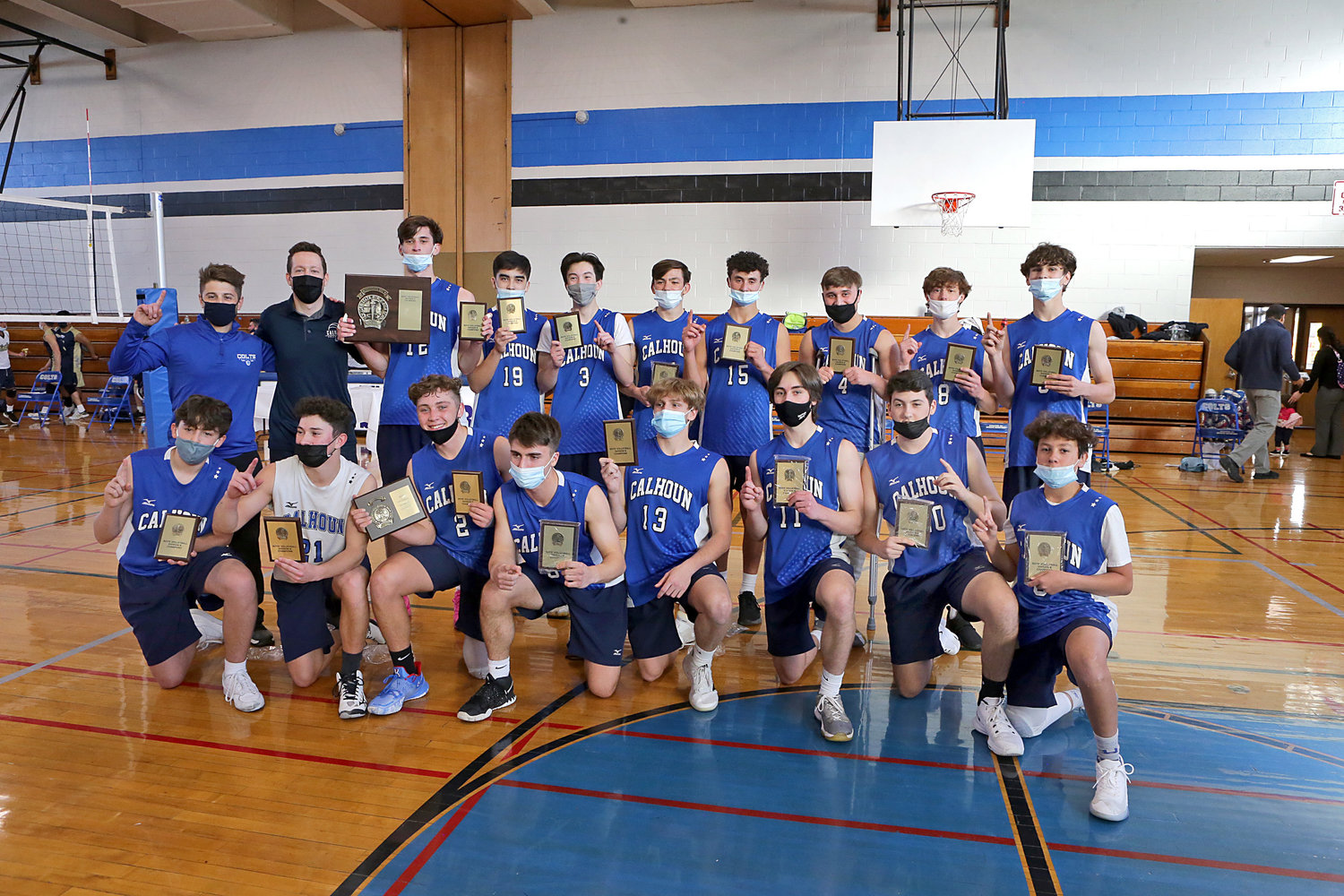 Calhoun captured its first-ever Nassau County boys' volleyball championship with a three-set sweep of Bethpage at Brookside School.