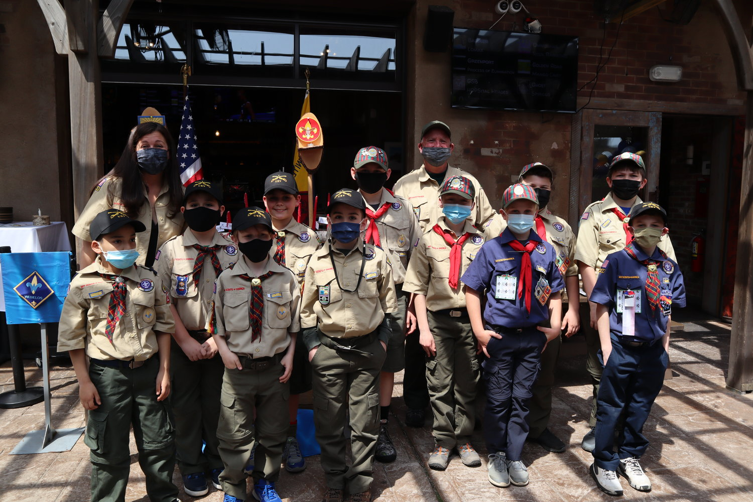Scout Leaders Jen Casano and Mike Kearney stood with Boy Scouts, from left, Max Martins, Dezmond Pless, Adam Schachter, James Casano, Matthew Kearney, Jason Bowman, Quinn Bubloski, Colton Hyland, Tristan Mansourati, Connor Ryan and Alex Sivin.