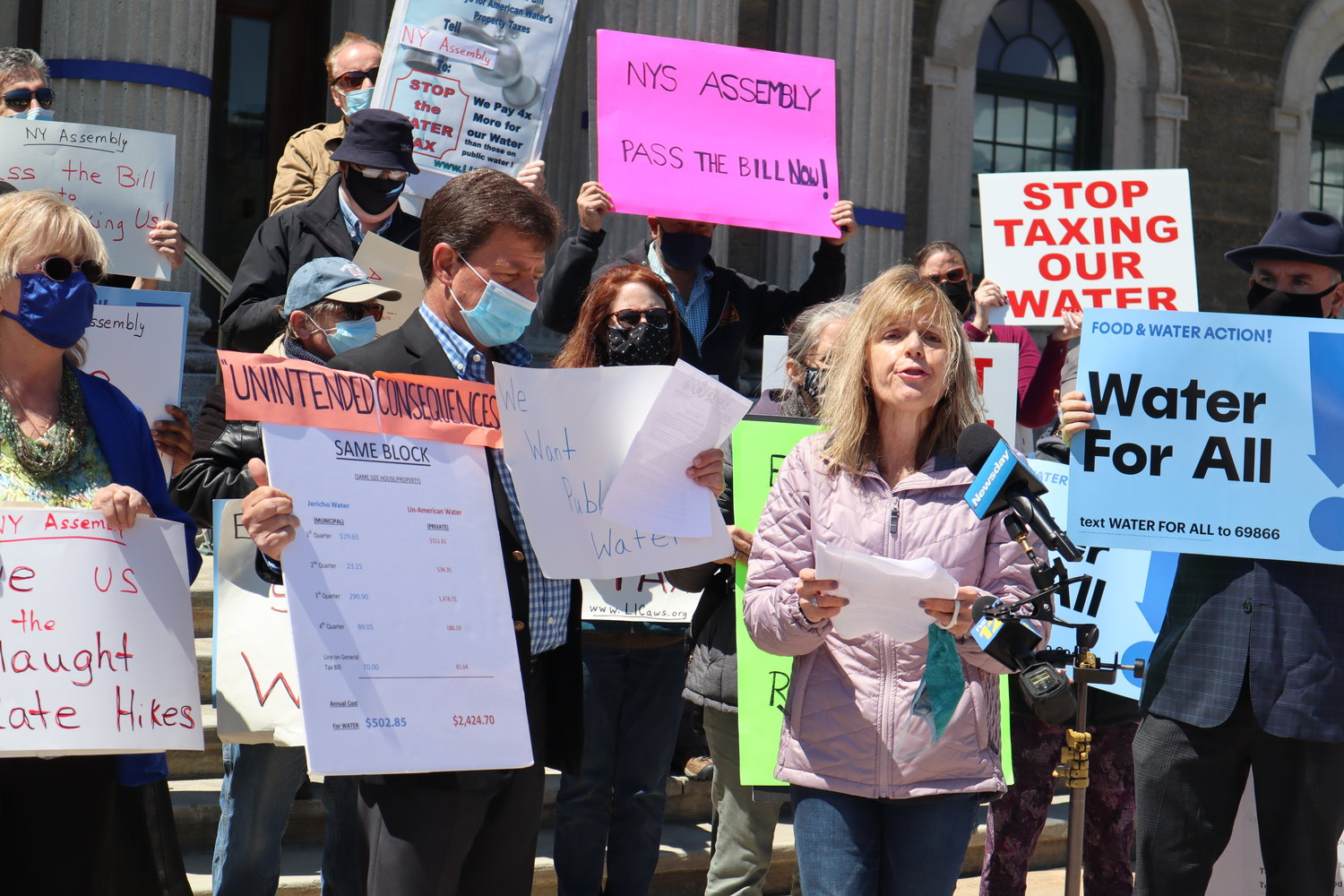 Agatha Nadel, director of the advocacy group North Shore Concerned Citizens, spoke at the rally.