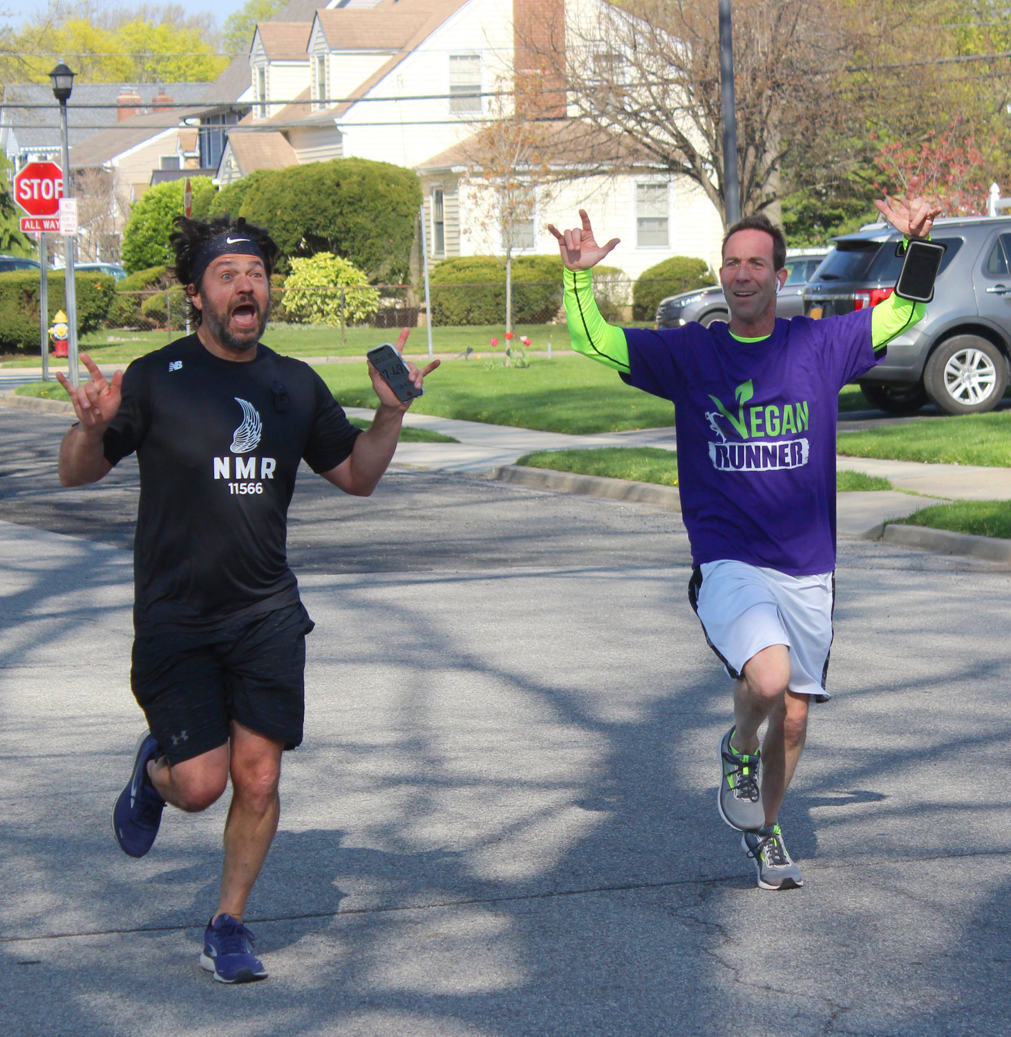 The Wantagh Wellness Project hosted its first community 5K last Saturday at Wantagh Elementary School. Above, Joe DiVico, 44, and Marc Turner, 47, both of Merrick and members of the North Merrick Runners.