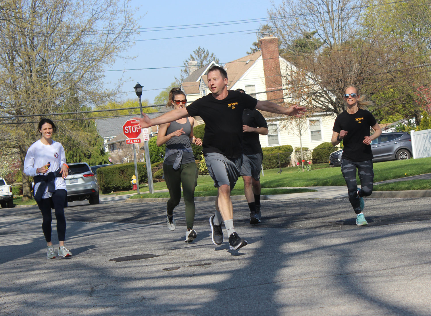 Keith Mekeel, 39, of Wantagh, led a group of runners toward the finish line.