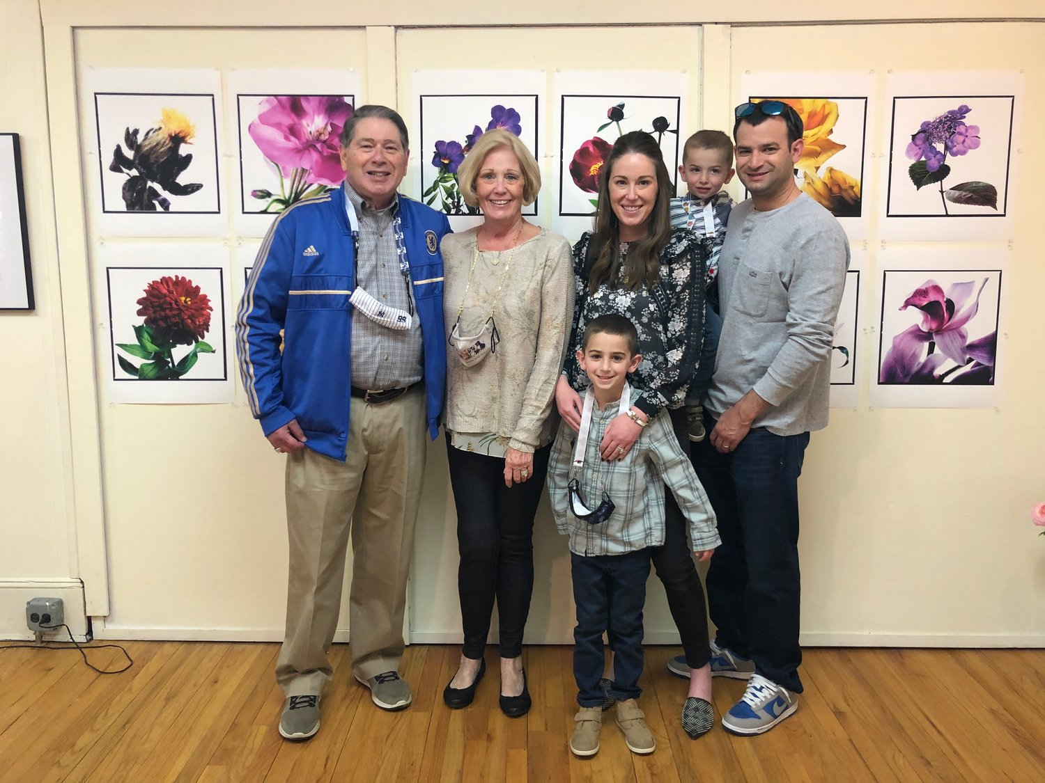 The extended Glueckstein family — from left, Fred and Eileen Glueckstein, and Deb, Drew, Jason and Max Wachtler — went to see the Eric Kamp exhibit at the Sea Cliff Village Museum. Fred Glueckstein is the late Eric Kamp's brother-in-law.