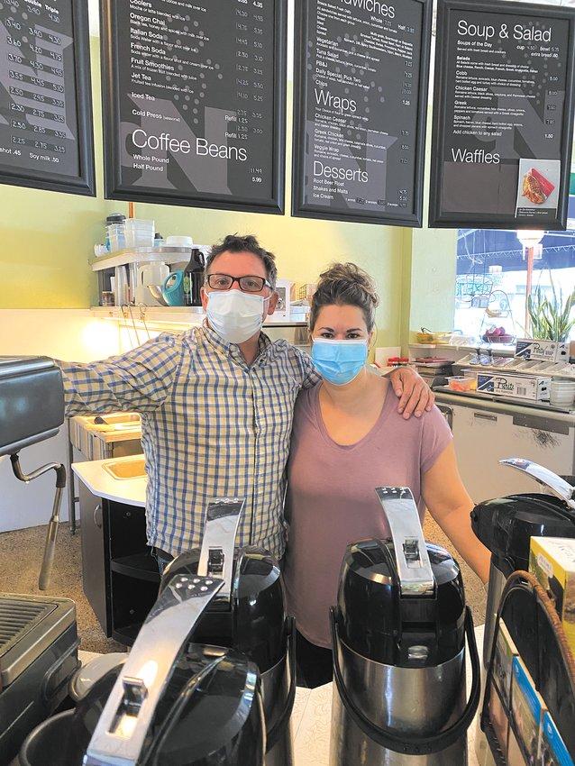 Nokomis residents Dennis and Mary Kloek have owned Nokomis Beach Coffee for 23 years. (Photo by Tesha M. Christensen)