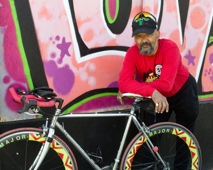 Louie Moore has been president of the Major Taylor Bicycling Club of Minnesota for 22 years. He is a tireless advocate for cycling: promoting the sport in communities of color, and improving biking conditions across the city for all. Club rides meet at his home near 48th Street and Columbus Avenue in South Minneapolis. Moore was the first Black person to buy a home on his block, and has lived there for 57 years. (Photo by Margie O'Loughlin)