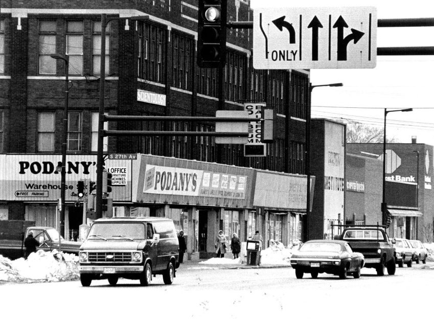 February 3, 1983 The left turn signal at Lake St. will soon take cars, buses and pedestrians past a new Applebaums grocery store and retail development.  January 30, 1983  Steve Schluter, Minneapolis Star Tribune