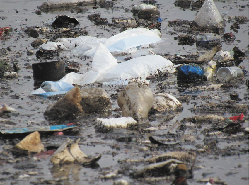 Trash in Lake Hiawatha includes various types of plastic and styrofoam. (Photo submitted by Friends of Lake Hiawatha)