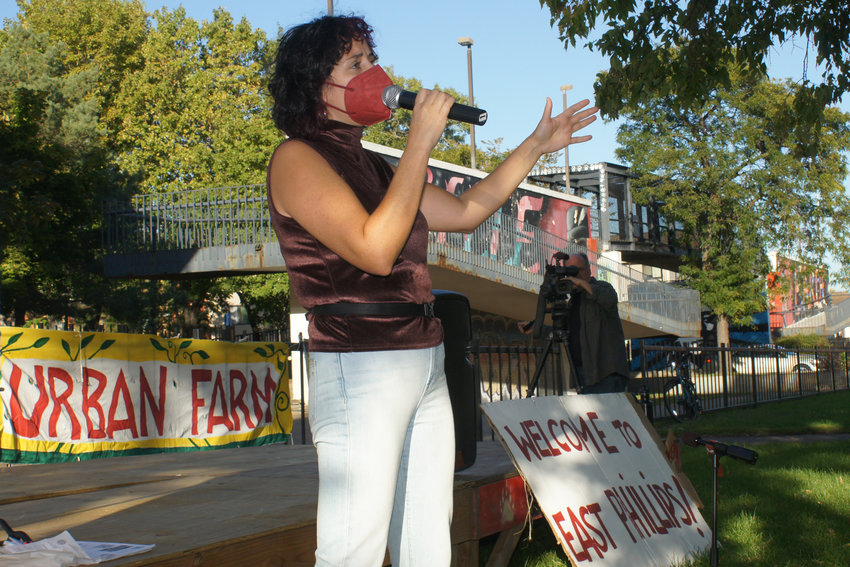 Ward 9 council member Alondro Cono speaks to the crowd of her own neighborhoods and constituents.
