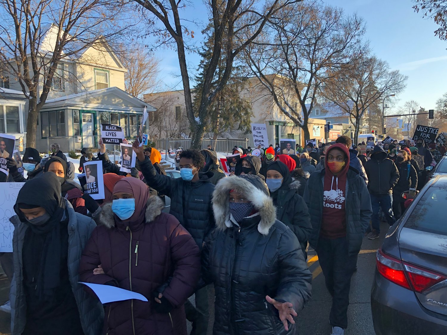 On Jan. 3, 2021, protestors marched from 36th and Cedar to E. Lake S. and back demanding justice and transparency. (Photos by Jill Boogren)