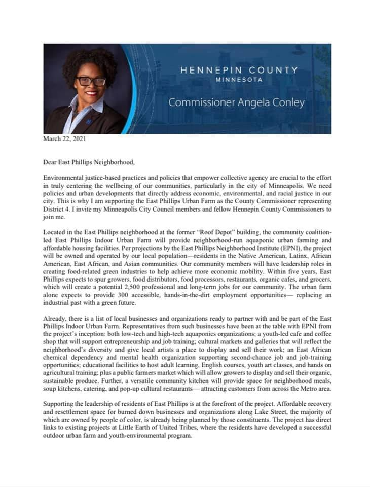 In mid March, Hennepin County Commissioner Angela Conley issued a two-page letter in support of the neighborhood's plan for an indoor urban farm, jobs and affordable housing.