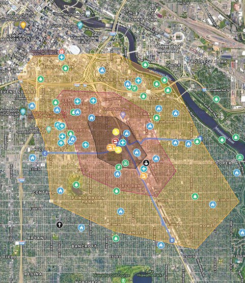 This map shows the affect that the pollution from the city's expanded public works site will have on south Minneapolis. The site is in the city's Green Zone and sits along the popular Midtown Greenway bike and walking path.