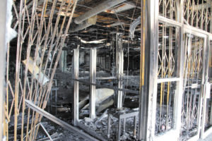 Fire damaged part of the Midway Center structure in 2020.