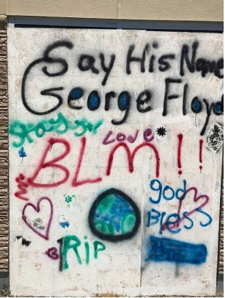 Youth in Model Cities created art on the side of the Victoria Theater Arts Center after the murder of George Floyd. | Submitted Photos by Crystal Vital-Schwartz