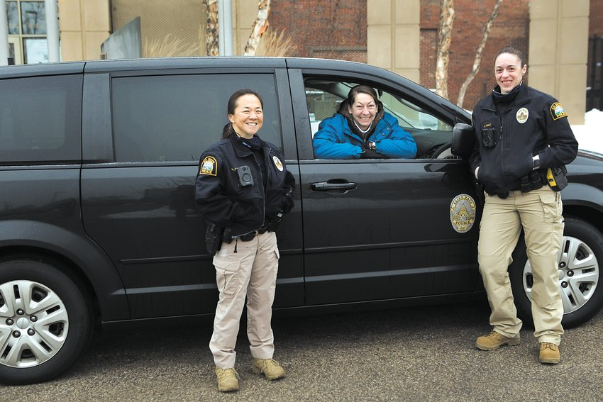 St. Paul COAST Unit members include (left to right) officer Lori Goulet, social worker Sally Vanerstrom, and officer Jen Hale. They respond to mental health calls, as well other crises. (Photo by Margie O'Loughlin)