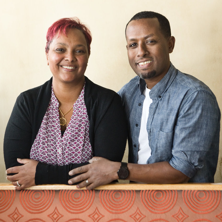 """Co-owners Rekik Abaineh (left) and Solomon Hailie (right) said, """"We have experienced an outpouring of love from around the world."""" (Photo by Margie O'Loughlin)"""