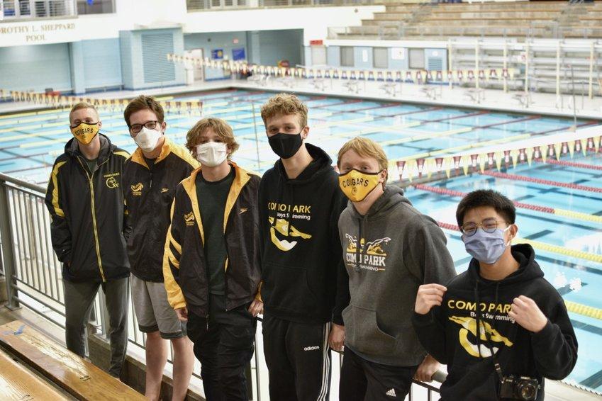 Como's State Swim Meet qualifiers at the U of M (left to right): Kai Sackreiter, Ethan Napierala, Gabe Napierala, Sig Isaacson, Soren Sackreiter, and Mark Remuto.