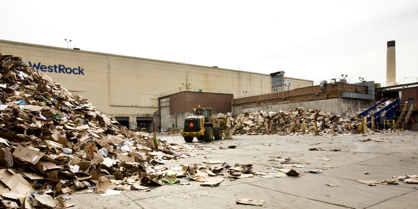 Cardboard placed in recycling bins is picked up by Eureka Recycling and sorted at their NE Minneapolis facility. It ends up here at WestRock in the Midway neighborhood, where it is remade into one of two types of recycled paper. (Photo by Margie O'Loughlin)