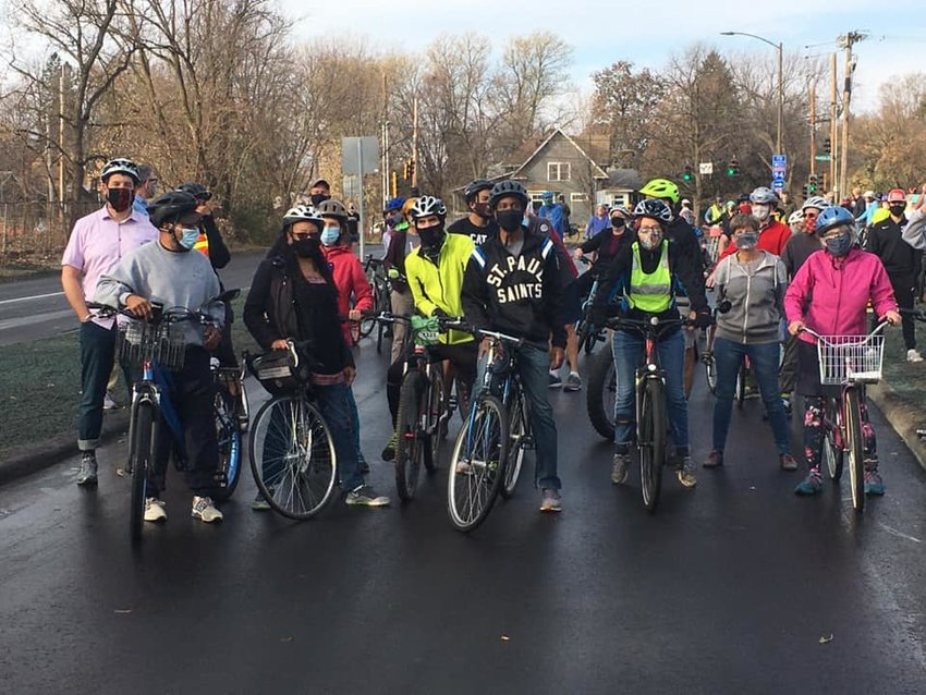 Folks ride with Mayor Melvin Carter to celebrate the opening of the newly completed trail along Ayd Mill Road on Saturday, Nov. 7, 2020. Off-street trails along Como Ave. and Johnson Parkway were also completed in 2020. (Photo submitted)