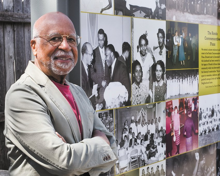 Marvin Roger Anderson at the Rondo Commemorative Plaza (on the corner of St. Anthony and Fisk avenues). (Photos by Margie O'Loughlin)