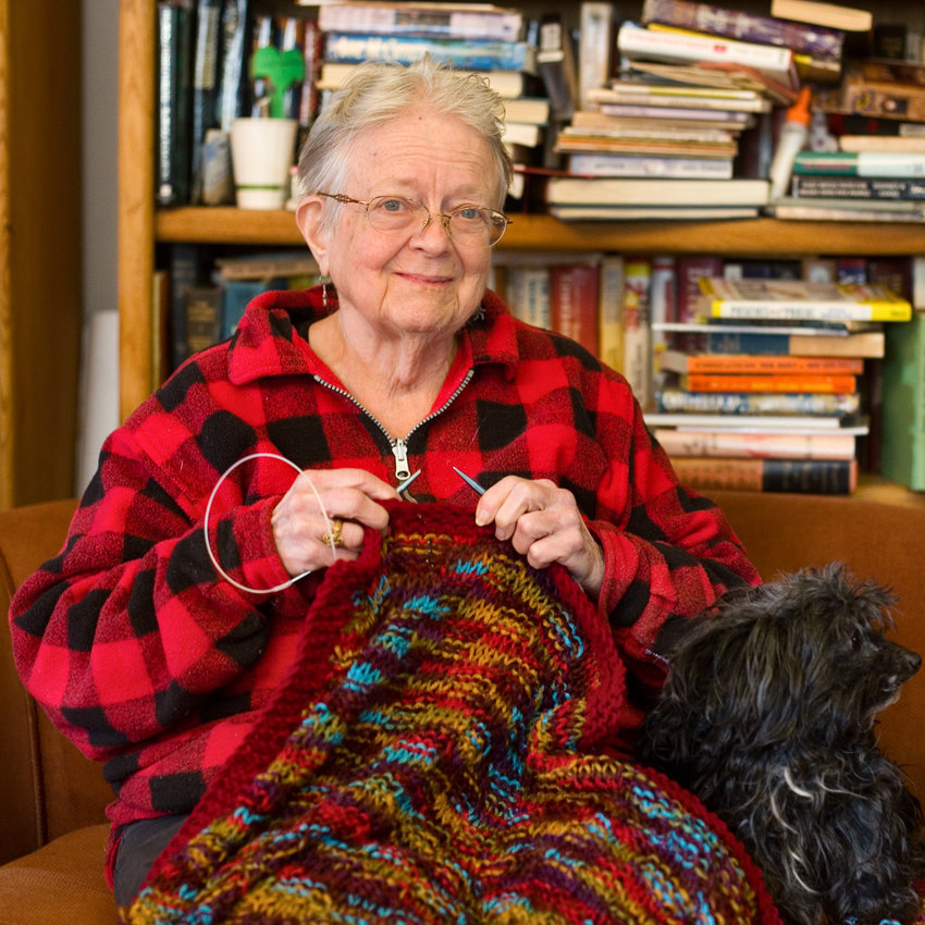Judy Gibson has lived in the Midway neighborhood for more than 40 years. She has found lasting friendships through the Hamline Midway Elders Knitting and Crochet Group. The group currently meets on Zoom, but hopes to return to in-person meetings in the not-too-distant future. (Photo by Margie O'Loughlin)
