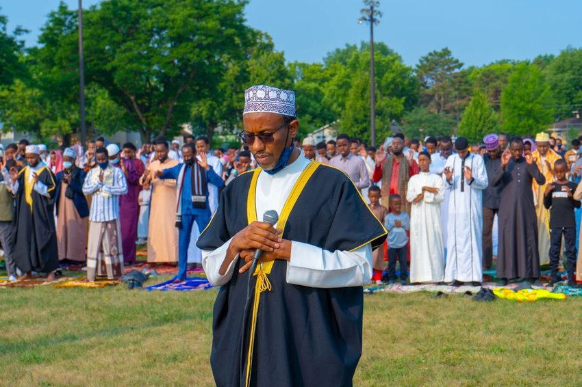 Imam Mursal of Masjid alihsan leads the Eid prayer hosted by Al-Ihsan Islamic center. (Photo submitted)