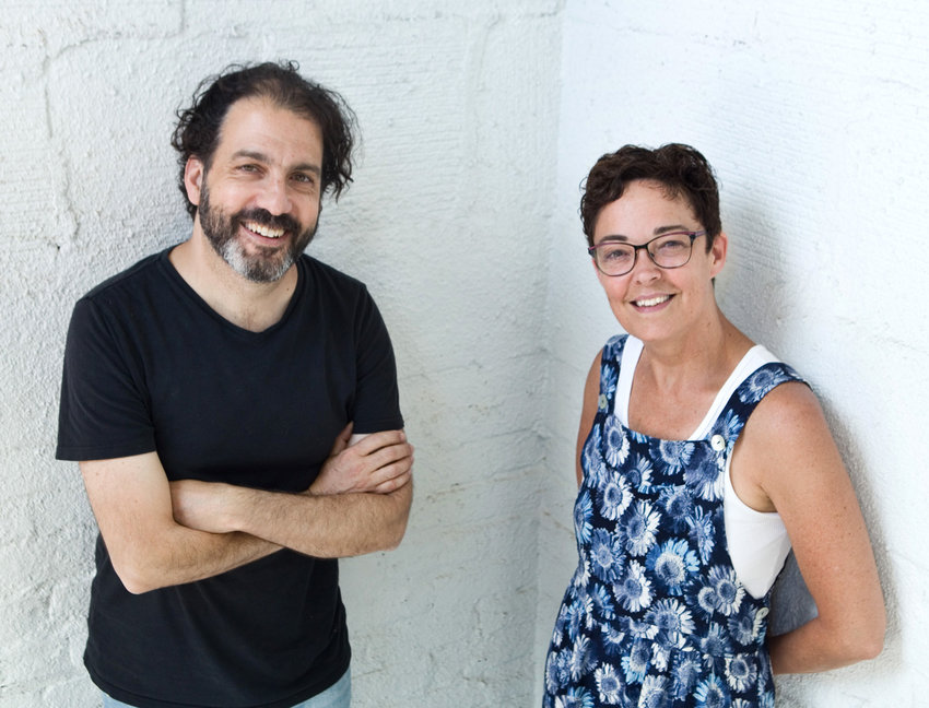 Alan Berks (left) and Leah Cooper (right) are co-artistic directors of Wonderlust Productions, located in Frogtown. Their 2016 play about the experience of adoption has been adapted into graphic novel form. (Photo by Margie O'Loughlin)