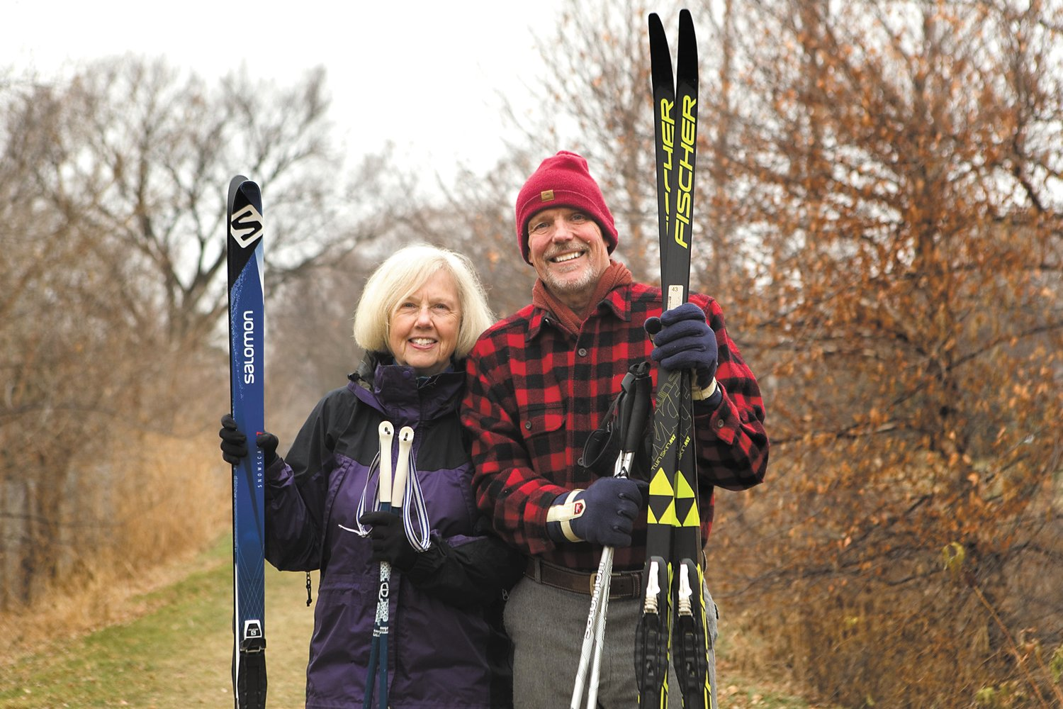 Linda Grieme (left) and Gregg Kelley (right) have been members of the NSSTC for decades. They're drawn to others who love and value silent sports. (Photo by Margie O'Loughlin)