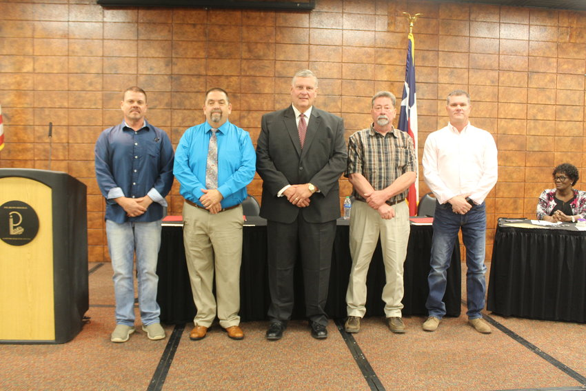 New City Commissioners from left, Bryan Fisher, Paul Searl, Lance DeFever, Jimmy Keough and Brian Doughty