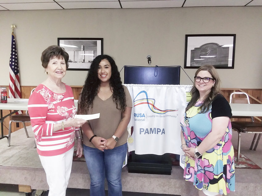 Pat Johnson, from left, Altrusa Scholarship Chair presented Giovanna Luna the Geraldine Rampy Vocational Award in the amount of $1,000. Also, pictured is Sheila Winton, Altrusa President. Luna is enrolled in the Nursing Program at Clarendon College.
