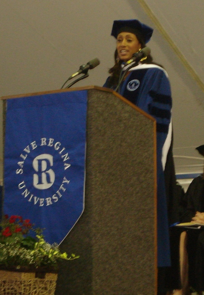 PROUD DAY: Commencement speaker Malaak Compton-Rock, humanitarian and founder of several charitable organizations, and wife of comedian Chris Rock, addresses the graduates. She told them to keep their hearts focused on giving back to the community to make the world a better place.