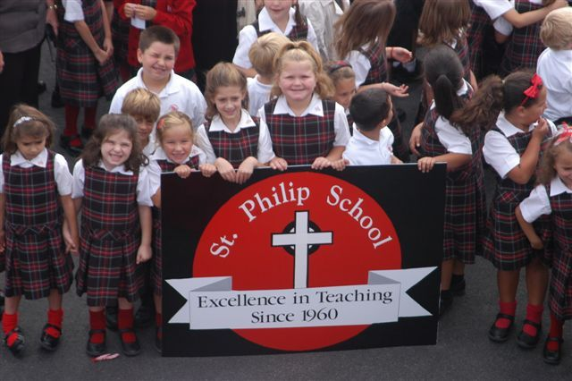 CELEBRATION: Students of St. Philip School celebrate the 50th anniversary of the Greenville school on Thursday, September 9.