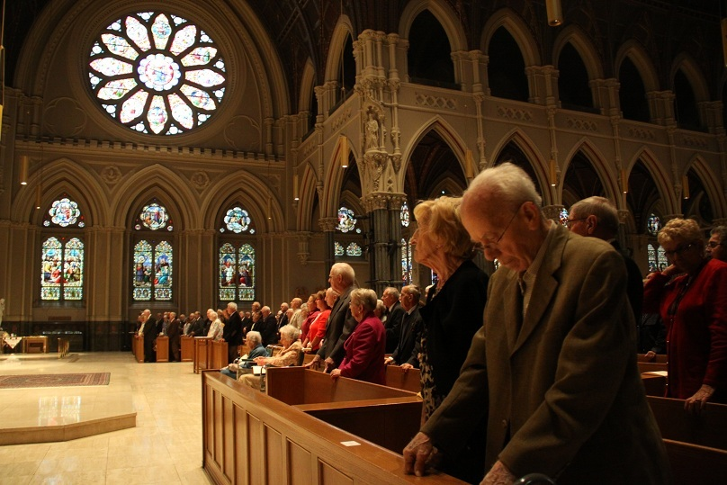 INSPIRED BY LOVE: More than 200 couples pray during an Anniversary Mass at the Cathedral of SS. Peter and Paul, Providence, on Sunday. Bishop Thomas J. Tobin celebrated the annual Mass honoring the special milestones.
