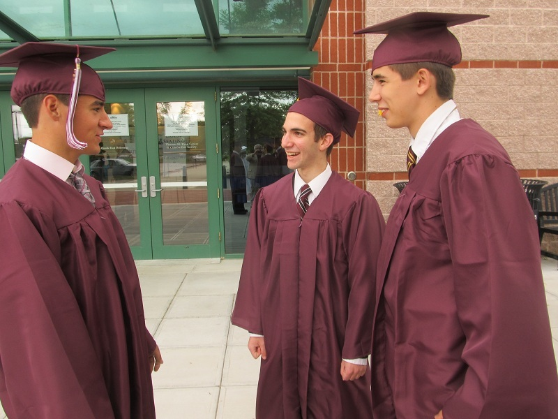 NEW CHALLENGES: James Doyal (left), John Tafone and Joseph Masse discuss their college plans.