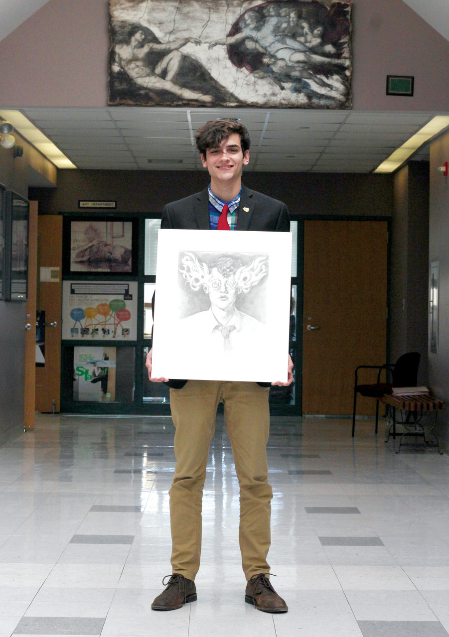 Connor Robinson, a senior at Bishop Hendricken High School in Warwick, has won awards in Excellence in Visual Arts. He hopes to attend R.I. School of Design in the fall.